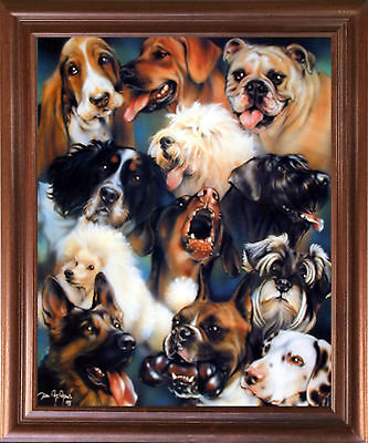 Collage of Dogs Breeds Cute Animal Kids Room Wall Decor Mahogany Framed Picture