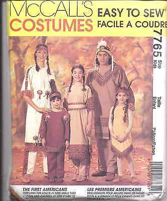 7765 UNCUT Vintage McCalls SEWING Pattern Halloween Costume Indian Child Adult  - Adult Halloween Crafts