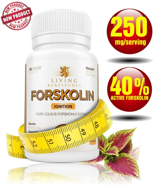 FORSKOLIN 250 mg 40% Standardized | Pure Coleus Forskohlii Root Extract 60 Caps