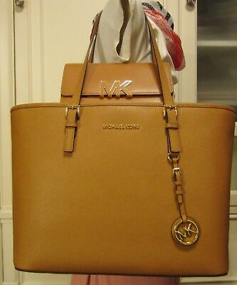 MK Michael Kors 2pc ACORN BROWN Leather Tote Florence Wallet $446 HTF NWT