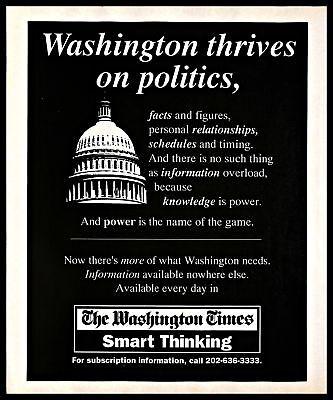 1993 The Washington Times Vintage Print Ad D C Newspaper Information B W 1990S
