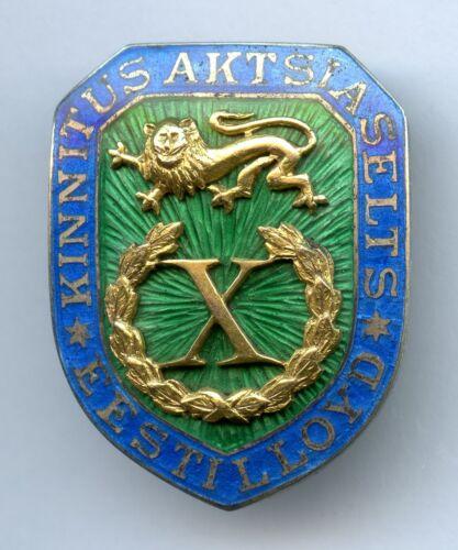 Estonian Lloyd Insurance Badge Jeton Pin Eesti Estland Silver w Gold Very rare