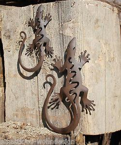 2er set wanddeko wandh nger metall gecko salamander - Wanddeko eidechse ...