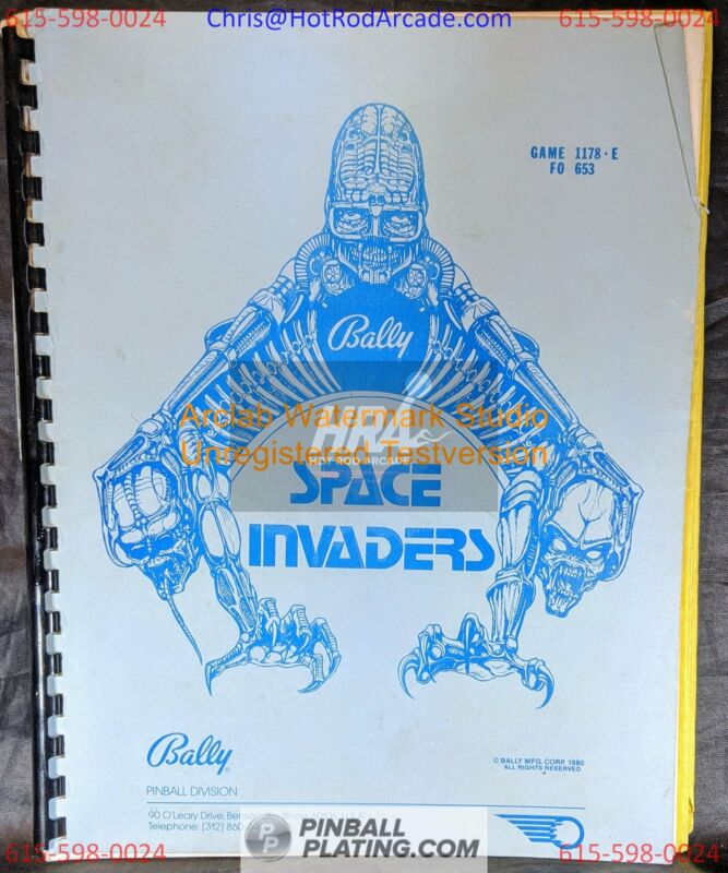 Space Invaders - Bally - Pinball Manual - Schematics - Instructions - Book -