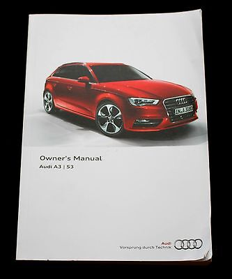 GENUINE AUDI A3 S3 HANDBOOK OWNERS MANUAL 2012-2016 BOOK