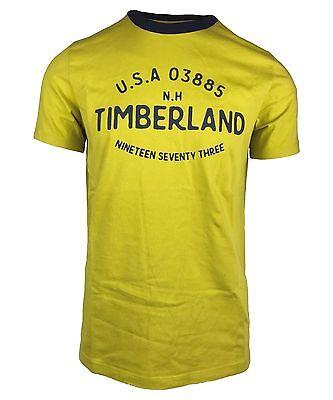 Timberland Mens Graphic Zip Code Ringer Yellow Mustard T Shirt A1gxk