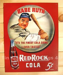 Red-Rock-Cola-5-Babe-Ruth-TIN-SIGN-vtg-metal-wall-decor-baseball-bar-bottle-149