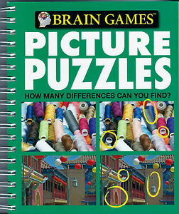 PICTURE PUZZLES New BOOK Brain Games TEASERS Spot Differences LOOK Search FIND