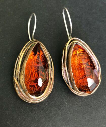 Antique Persian Islamic Sterling Silver Citrine Gems Drop/Dang Large Earrings