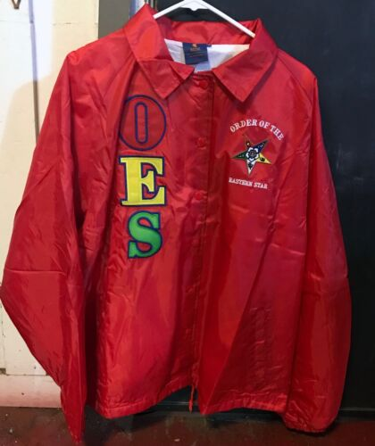Order of the Eastern Star OES Line Jacket-Red- Size XL-New!