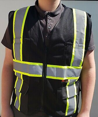 Fx Two Tone Hi-vis Black Safety Vest With 4 Front Pocket Small To 5xl