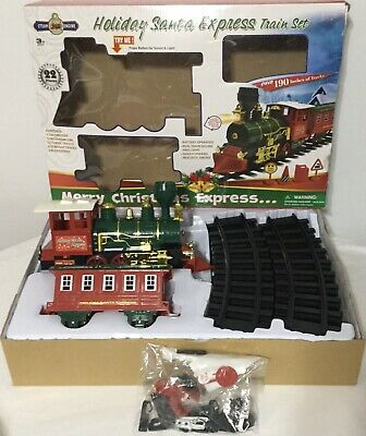 HOLIDAY SANTA EXPRESS 22 PIECE CHRISTMAS TRAIN SET STEAM ENGINE BATTERY OPERATED