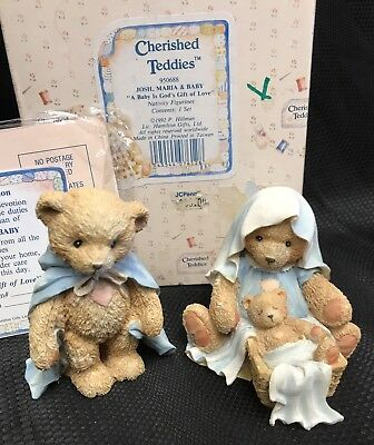 Cherished Teddies 1992 #950688 Josh, Maria & Baby Nativity Figurines w/box & CoA