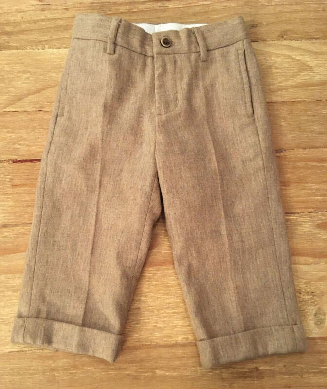 Janie And Jack Boys Beige Tan Wool Blend Dress Pants Cuffed Hem Size 18-24M  NEW