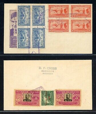 Nicaragua 75th Ann Postal History: LOT #18 1939 Multifranked w/Forged Cancel $$$