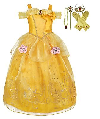 Girls Beauty and the Beast Dress kids Princess Belle Dress UP Set Size 1-8y - Dress Up The Kids