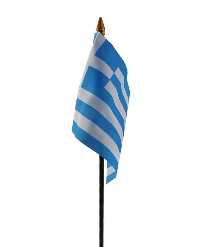 "GREECE SMALL HAND WAVING FLAG 6""X4"" flags GREEK"