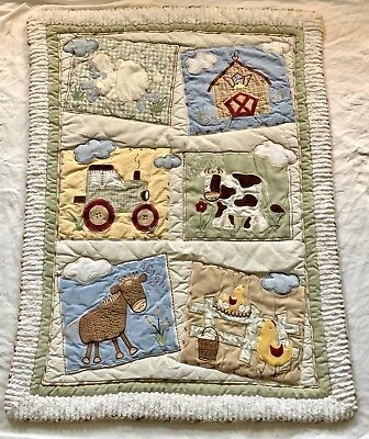 - Kids Line Embroidered Farm Animal Crib Baby Blanket Thick Warm Corduroy Suede