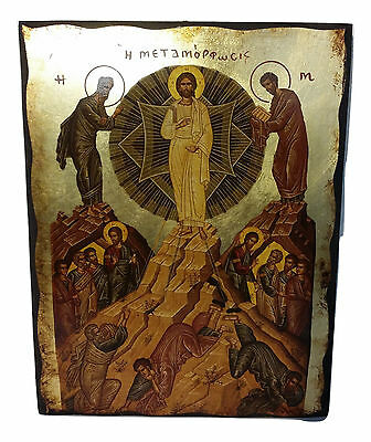 The Transfiguration Or Metamorphosis Of Christ Greek Byzantine Icon 20X26cm