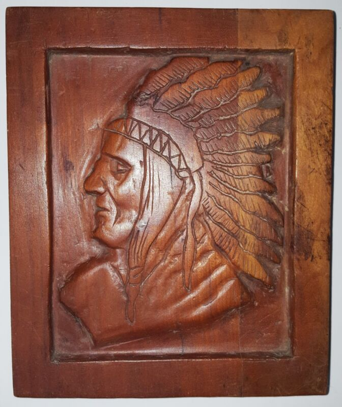Antique Wood Carved Indian Head Plaque Native American Original 19th C. Marked