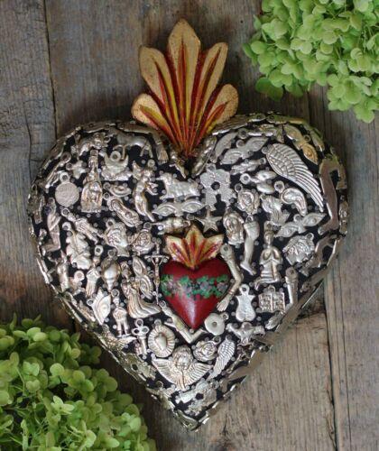 Medium Sz Sacred Heart Hand Painted Flowers & Milagros Mexico Folk Art Michoacán