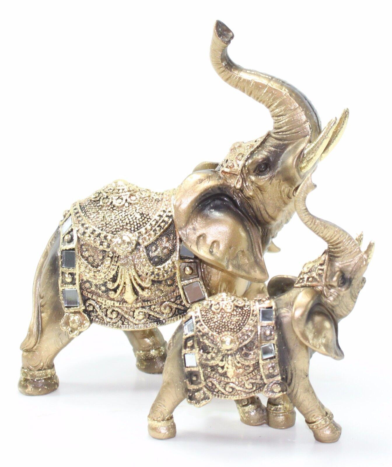 Set Of 2 Feng Shui Gold Elephant Trunk Statue Lucky
