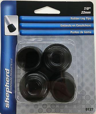 Shepherd 9127 7/8-Inch Rubber Leg Tips, Black, 4-Pack