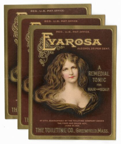 Antique 1911 EVAROSA HAIR TONIC BOTTLE LABELS Womens Beauty Advertising LOT OF 3