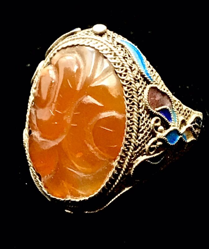 ANTIQUE CHINESE ENAMEL & FILIGREE SILVER  RING w/ RED CARVED CARNELIAN CABOCHON