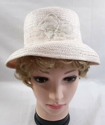 Ladies Womens Summer Hat Pink Bucket Beaded Butterfly Trim Church Easter 5584B](Womens Easter Hats)