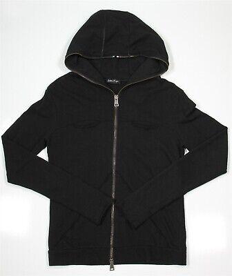 ANDREA YA' AQOV Black Full Zip Distressed Hoodie~ Large