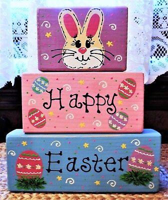 Happy Easter CHUNKY WOOD BLOCKS SET Country Primitive Seasonal Rabbit Bunny