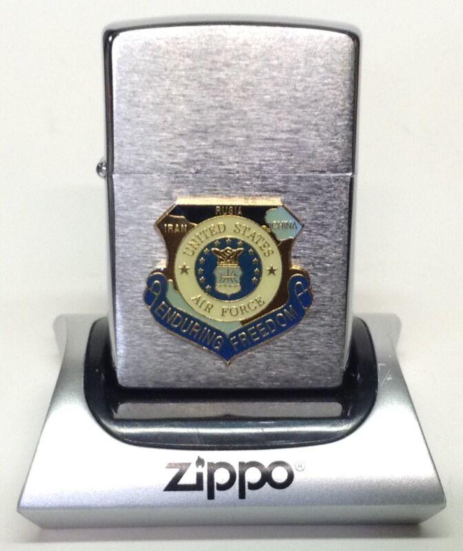 2006 Brushed Chrome Zippo w/ Operation Enduring Freedom Air Force Emblem, L👀K