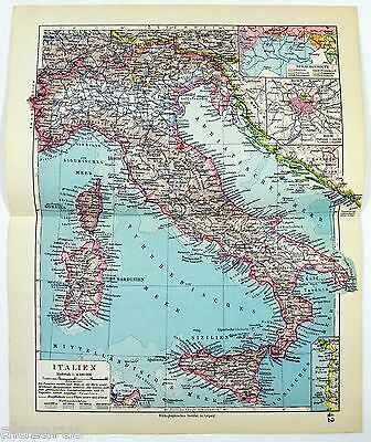 Original 1928 German Map of Italy by Meyers