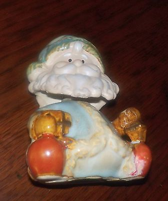 SEASON SALE CHRISTMAS BOBBLE HEAD SANTA BLUE SUIT CERAMIC GLOSS FINISH  LANTERN - Santa Suit Sale