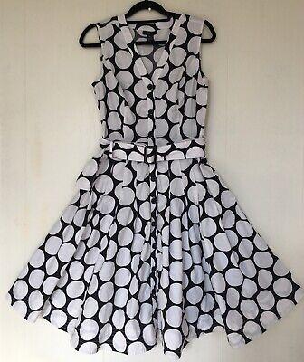 Alfani Swing Shirt Dress Retro Big Polka Dot Black White Sleeveless Belt 10 Big Dot Dress