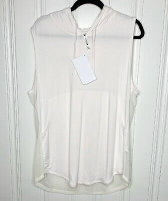 Fabletics Size XXL Womens White Rina Sleeveless Pullover Hoodie Shirt NWT