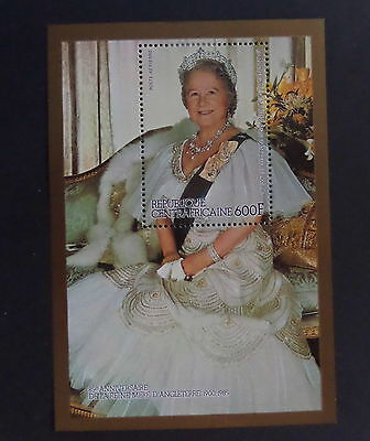 Central African Republic 1985 Queen Mother's 85th Birthday MS Mounted Mint MM