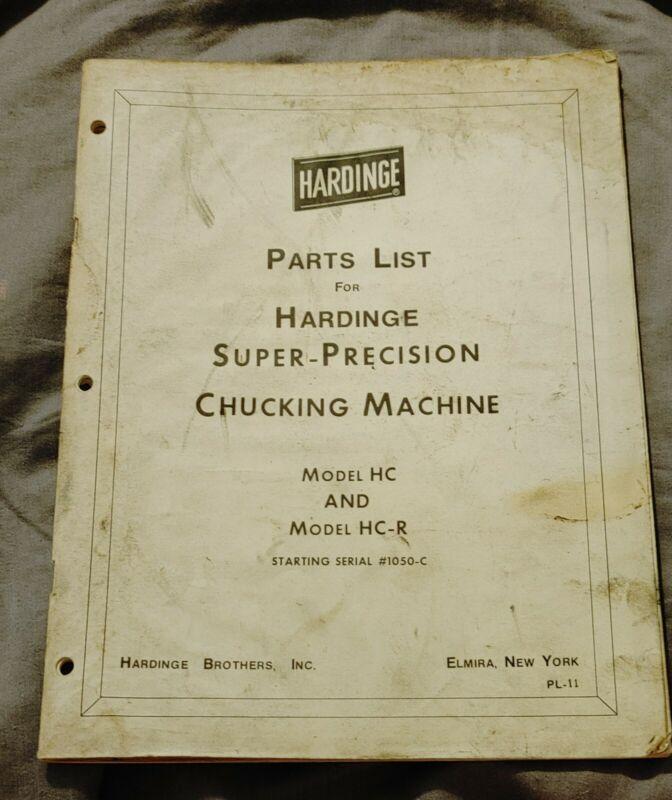 Parts List for Hardinge Super-precision Chucking Machine HC & HC-R