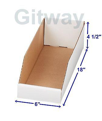 50- 6 X 18 X 4 12 Corrugated Cardboard Open Top Storage Parts Bin Bins Boxes