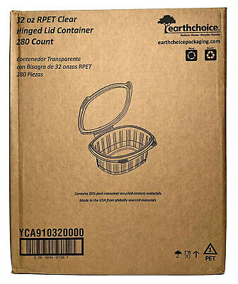 Pactiv Rpet 32 Oz Clear Hinged Lid 1 Compartment Takeout Deli Container 280ct