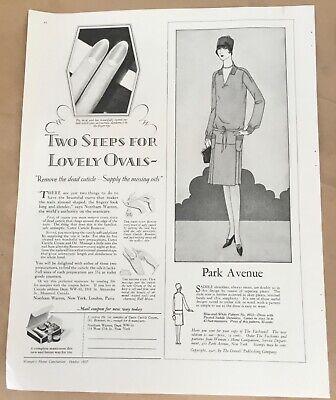 Cutex manicure ad 1927 vintage print 20s art illustration makeup beauty cream