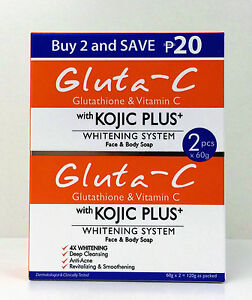 Gluta-C with Kojic Plus Skin Whitening Soap, Glutathione & Vitamin C 60g x 2