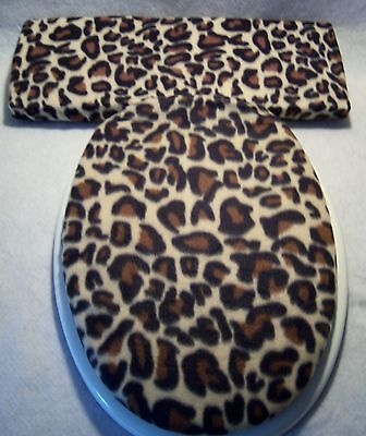 Fleece Leopard Hat (LEOPARD fleece animal print Elongated Toilet Seat Lid and Tank Lid Cover Set  )