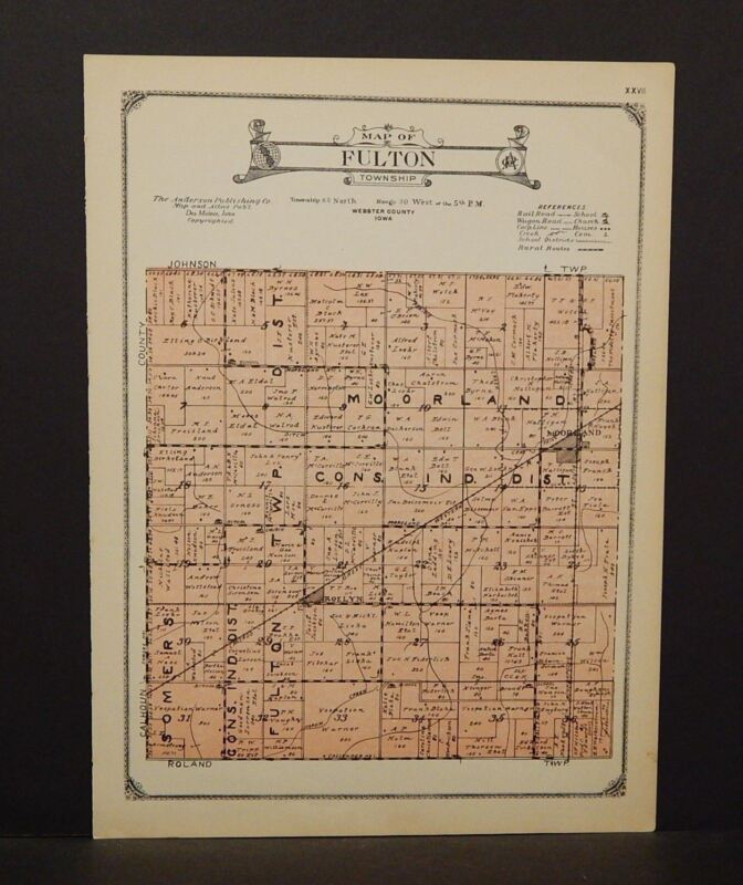 Iowa Webster County Map Fulton Township 1923  W13#99