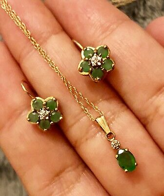 9ct Yellow Gold Emerald Diamond Hoop Earrings And Pendant Necklace Set Chain