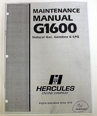Hercules Maintenance Manual G1600 Engines Natural Gas Gasoline Lpg 40-0090202