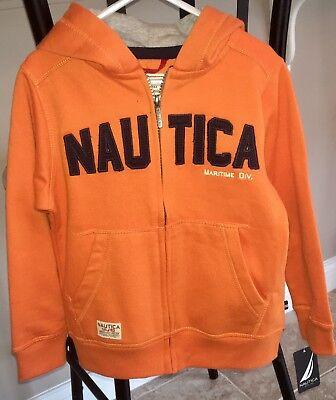 Kids Boys Nautica Full Zip Orange Navy Blue Hooded Coat Jacket, Size 4 Small S
