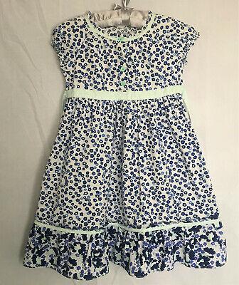 White Cotton Flower Girl Dresses (HANNA ANDERSSON BLUE & WHITE FLOWER TWIRL DRESS GIRLS 120 SPRING SUMMER)