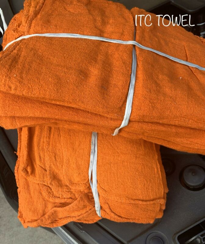 1000 New Industrial Commercial Orange Shop Rags Towel 14x14